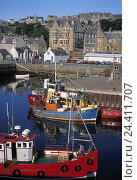 Купить «GB' Scotland, Orkney islands, Stromness, local view, harbour, fishing boats, near», фото № 24411707, снято 11 января 2000 г. (c) mauritius images / Фотобанк Лори