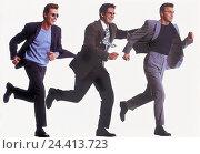 Купить «Men, three, suits, run, gesture, haste Men, man, joy, enthusiasm, haste, date, engagement, motion, Having, side view, studio, cut out,», фото № 24413723, снято 25 сентября 2000 г. (c) mauritius images / Фотобанк Лори