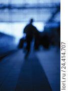 Купить «Underground station, businessman, run, silhouette, blur, b/w, business, manager, date, haste, date printing, flight person, man, suitcase, luggage, Having...», фото № 24414707, снято 21 февраля 2001 г. (c) mauritius images / Фотобанк Лори