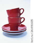 Купить «Dishes, espresso cups, red studio, cut out, product photography, Still life, porcelain, china, espresso cups, coffee cups, coffee cups, cups, two, coffee things», фото № 24418635, снято 1 февраля 2002 г. (c) mauritius images / Фотобанк Лори