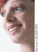 Купить «Woman, smile young, gepierct, page portrait, Piercing, lip frenum, Lippenpiercing, Lippenbändchenpiercing, fashion, trend, jewellery, body jewellery, Piercingschmuck, lip, lower lip, happy, portrait», фото № 24420591, снято 23 сентября 2002 г. (c) mauritius images / Фотобанк Лори