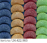 Купить «Jelly fruits, sugared, sweets, sweetness, sweets, fruit rubber, sweets, nutrition, unhealthily, sweetly, sugar, brightly, colourfully, lie, sorts, lined up, Still life, product photography», фото № 24422983, снято 30 июля 2002 г. (c) mauritius images / Фотобанк Лори