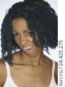 Купить «Woman, young, dark-skinned, lip, tongue, gepierct, facial play, dissatisfied, model released, Lippenpiercing, Zungenpiercing, Piercing, body jewellery...», фото № 24425275, снято 10 сентября 2002 г. (c) mauritius images / Фотобанк Лори