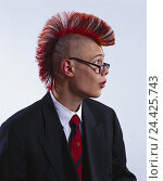 Купить «Man, young, suit, tie, punk hairstyle, glasses, facial play punk, punk, young person, hairs, red, Irokesen editing, portrait, side view, tread, studio, cut out,», фото № 24425743, снято 15 января 2002 г. (c) mauritius images / Фотобанк Лори