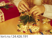 Купить «Woman, Christmas present, pack, detail, hands Advent, Advent season, Christmas period, for Christmas, Christmas, yule tide, present, package, wrapping paper, surprise, wrap up, decorate, decorate», фото № 24426191, снято 25 ноября 2002 г. (c) mauritius images / Фотобанк Лори