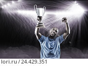 Купить «Composite image 3D of happy sportsman looking up and cheering while holding trophy», фото № 24429351, снято 27 июня 2019 г. (c) Wavebreak Media / Фотобанк Лори
