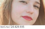 Купить «Красивая пятнадцатилетняя девочка крупным планом», видеоролик № 24429935, снято 20 октября 2016 г. (c) Mikhail Davidovich / Фотобанк Лори