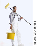 Купить «Painter, young, bucket, colour role studio, cut out, man, occupation, painter, paperhanger, craft, craftsman», фото № 24435651, снято 12 ноября 2001 г. (c) mauritius images / Фотобанк Лори