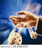 Купить «Man, detail, hand, cube, fall, [M], throw dice, game, craps, game chance, toss, motion, blur», фото № 24438651, снято 21 сентября 1998 г. (c) mauritius images / Фотобанк Лори
