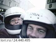 Купить «Motorcyclist, front seat passenger, helmets, portrait, town, motorcycle driving, couple, partner, crash helmets, motorbike helmets, security, fun, happy...», фото № 24440495, снято 6 мая 2003 г. (c) mauritius images / Фотобанк Лори