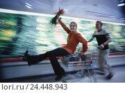 Купить «Supermarket, couple, young, shopping carts, melted, makes unfamiliar inside, purchasing, shop, blur, helped to pull, food, happy, joy life», фото № 24448943, снято 6 февраля 2006 г. (c) mauritius images / Фотобанк Лори