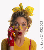 Купить «Woman, young, glasses, clothes, brightly, mobile phone, call up, facial play, astonished, portrait, women, studio, cut out, is surprised, astonishment, in amazement, surprise, shrill, kiss mouth,», фото № 24452063, снято 29 сентября 2000 г. (c) mauritius images / Фотобанк Лори