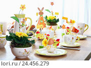 Купить «Easter, eggcup, covered table, Easter breakfast, breakfast, Easter Sunday», фото № 24456279, снято 15 августа 2018 г. (c) mauritius images / Фотобанк Лори
