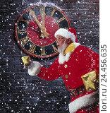 "Купить «Wall clock, ""five run in front of twelve"", Santa Claus, presents, rush haste, snowfall Composing, studio, Christmas, Santa Claus, Santa, Christmas, snow, clock, time, time, yule tide, Having, hasten», фото № 24456635, снято 22 мая 2001 г. (c) mauritius images / Фотобанк Лори"