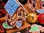 Small gingerbread house and Christmas ball closeup., фото № 24459591, снято 5 декабря 2016 г. (c) Gennadiy Poznyakov / Фотобанк Лори