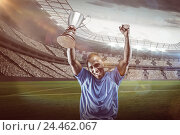 Купить «Composite image 3D of portrait of happy sportsman cheering while holding trophy», фото № 24462067, снято 27 июня 2019 г. (c) Wavebreak Media / Фотобанк Лори