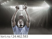 Купить «Composite image 3D of happy sportsman looking up while holding trophy», фото № 24462583, снято 27 июня 2019 г. (c) Wavebreak Media / Фотобанк Лори
