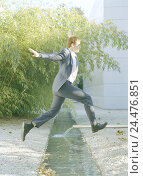 Купить «Buildings, brook, businessman, crack, man, suit, manager, waters, water, jump, overcome motion, hurdle, master, haste, Having, make progress, progress...», фото № 24476851, снято 15 апреля 2003 г. (c) mauritius images / Фотобанк Лори