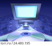 Купить «Computer graphics, monitor, video-CD player, CD's, home cinema, Home entertainment, television, TV, DVD player, display, 16:9 tubes, Pal profit sending...», фото № 24480195, снято 25 октября 2005 г. (c) mauritius images / Фотобанк Лори