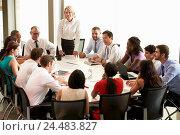Купить «Businesswoman Addressing Meeting Around Boardroom Table», фото № 24483827, снято 20 октября 2013 г. (c) easy Fotostock / Фотобанк Лори