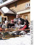 Купить «Skiing area, ski hut, Apres ski, women, concertina players, melted, detail, mountain restaurant, terrace, bar, restaurant, skiers, sportswomen, rest, break...», фото № 24487035, снято 25 июня 2004 г. (c) mauritius images / Фотобанк Лори