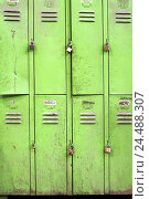"""Купить «Lockers, old, """"badges"""", padlocks, openly, sealed, changing room, cupboards, simply, simply, ailing, neglect, dilapidatedly, cupboard doors, green, barred...», фото № 24488307, снято 4 января 2006 г. (c) mauritius images / Фотобанк Лори"""