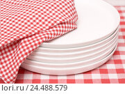 Купить «Table, plate stack, dish towel,  Detail   Tablecloth, checkered, pink, know-pink, food plates, Essteller, porcelain, white, simple, stack, stacked tablecloth...», фото № 24488579, снято 23 сентября 2018 г. (c) mauritius images / Фотобанк Лори