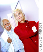 Купить «Boutique, Senior couple, shopping tour, woman, jacket red, try, select, together, happy, 60-70 years, married couples, married couple, couple, senior citizens...», фото № 24489659, снято 2 декабря 2004 г. (c) mauritius images / Фотобанк Лори