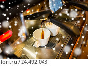 Купить «close up of espresso machine making coffee», фото № 24492043, снято 1 декабря 2015 г. (c) Syda Productions / Фотобанк Лори