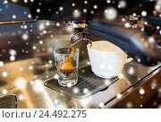 Купить «close up of espresso machine making coffee», фото № 24492275, снято 1 декабря 2015 г. (c) Syda Productions / Фотобанк Лори