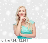 happy smiling young woman or teenage girl. Стоковое фото, фотограф Syda Productions / Фотобанк Лори