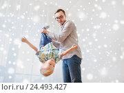 Купить «father with son playing and having fun at home», фото № 24493427, снято 19 марта 2016 г. (c) Syda Productions / Фотобанк Лори