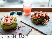 Купить «goat cheese and ham salads on cafe table», фото № 24493547, снято 22 сентября 2016 г. (c) Syda Productions / Фотобанк Лори