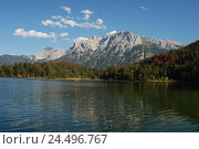 Купить «Germany, Bavaria, loud lake, mountain landscape, autumn, Upper Bavaria, Werdenfels, scenery, nature, Idyll, mountains, alps, mountains, Karwendelgebirge...», фото № 24496767, снято 29 февраля 2008 г. (c) mauritius images / Фотобанк Лори