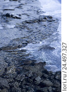 Купить «Switzerland, Graubuenden, Prättigau, Davos, Flüelapass, brook Flüela, fresh snowfall, ice-crystals,», фото № 24497327, снято 26 февраля 2008 г. (c) mauritius images / Фотобанк Лори