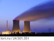 Купить «Germany, Bavaria, Lower Franconia, nuclear power plant field Grafenrhein, lighting, evening,», фото № 24501351, снято 17 апреля 2009 г. (c) mauritius images / Фотобанк Лори