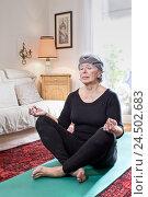 Купить «Senior woman, yoga mat, cross-legged, relaxation,», фото № 24502683, снято 18 сентября 2018 г. (c) mauritius images / Фотобанк Лори