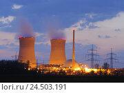 Купить «Germany, Bavaria, Lower Franconia, field Grafenrhein, nuclear power plant, lighting, evening,», фото № 24503191, снято 26 марта 2019 г. (c) mauritius images / Фотобанк Лори