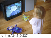 Купить «Girls, back view, television, children's programme, Teletubbies, substance dolls sitting room, floor, TV, telecast, child channel, child program, child...», фото № 24510227, снято 22 марта 2004 г. (c) mauritius images / Фотобанк Лори
