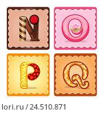 Алфавит из сладостей. Буквы n, o, p, q. Стоковая иллюстрация, иллюстратор Седых Алена / Фотобанк Лори