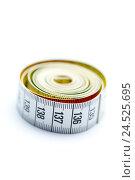 Купить «Tape measure, rolled up, brightly, cut-out,», фото № 24525695, снято 18 марта 2018 г. (c) mauritius images / Фотобанк Лори