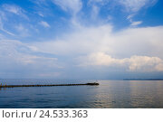 Купить «Poland, the Baltic Sea, sea view, East, Europe, 3 town, Gdansk, Sopot, sea, water, heaven, blue, clouds, harbour, defensive wall, view, width, distance, horizon, the Baltic States, outside, deserted,», фото № 24533363, снято 17 августа 2009 г. (c) mauritius images / Фотобанк Лори