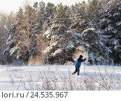 Купить «Зимний пейзаж с лыжником», эксклюзивное фото № 24535967, снято 7 января 2016 г. (c) Елена Осетрова / Фотобанк Лори