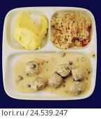 Купить «Canteen food, mashed potatoes, sauerkraut, 'Königsberger Klopse' (German meatballs in caper sauce), sauce,», фото № 24539247, снято 17 августа 2018 г. (c) mauritius images / Фотобанк Лори