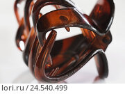 Купить «Bobby pin, medium close-up, hair ornament, hair clip, hair clamp, hair slide, hair pince-nez, brown, styling, Hairstyling, doctor, detail, studio, curled, product photography, inside,», фото № 24540499, снято 23 июля 2008 г. (c) mauritius images / Фотобанк Лори