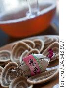 Купить «Olive, food, hors-d'oeuvre, in Chinese, Kanji, figures, tea, teapot, cake, Asian,», фото № 24543927, снято 4 октября 2010 г. (c) mauritius images / Фотобанк Лори