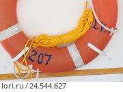 Купить «Fishing boat, lifebelt with lifeline, island Sifnos, the Cyclades, Greece,», фото № 24544627, снято 17 июня 2019 г. (c) mauritius images / Фотобанк Лори
