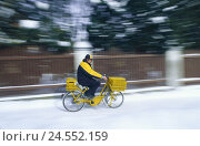 Купить «Postman, bicycle, winters, snow, post, drive out, hold, fence, work, mailmen, postal service, letters, post-office official, service, person, blur,», фото № 24552159, снято 23 сентября 2009 г. (c) mauritius images / Фотобанк Лори
