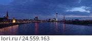 Купить «Dusseldorf on the Rhine, evening, panoramic format,», фото № 24559163, снято 20 июля 2018 г. (c) mauritius images / Фотобанк Лори