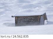 Купить «Hay barn, blizzard, snow surface, Germany, Bavaria, Upper Bavaria, Mittenwald, hump meadows, alps, alp world, alp room, winter, hut, barn, hay barn, wooden...», фото № 24562835, снято 11 февраля 2011 г. (c) mauritius images / Фотобанк Лори